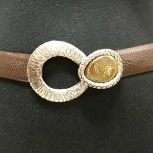 Chico's brown pebbled belt with hammered brass